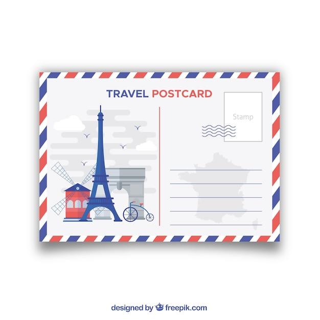 Carte postale de voyage avec des monuments Vecteur gratuit
