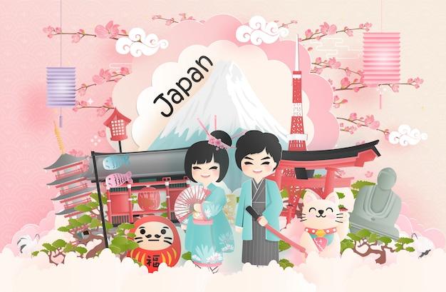 Carte postale de voyage, publicité pour les visites de monuments célèbres du monde, du japon Vecteur Premium