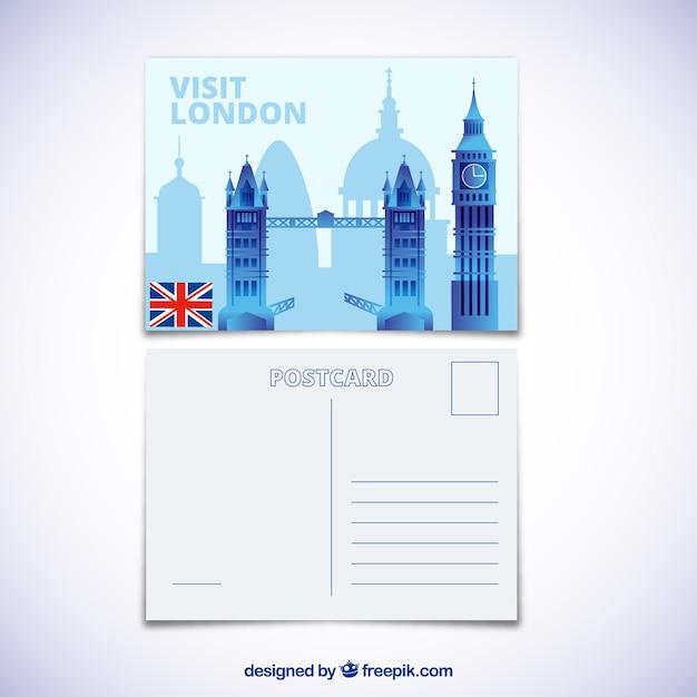 Carte Postale De Voyage Avec La Ville De Londres | Vecteur Gratuite