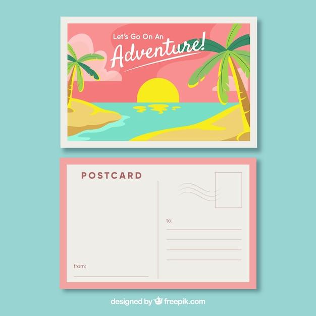 Carte postale de voyage avec vue sur la plage dans un style plat Vecteur gratuit