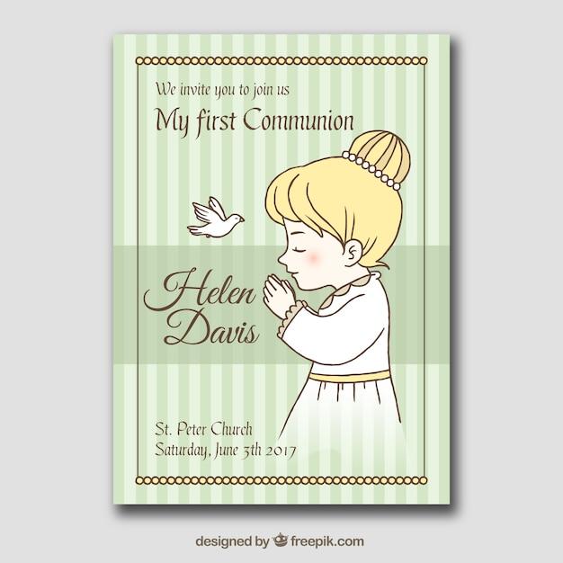 Carte De Première Communion Avec Dessin De Fille En Prière