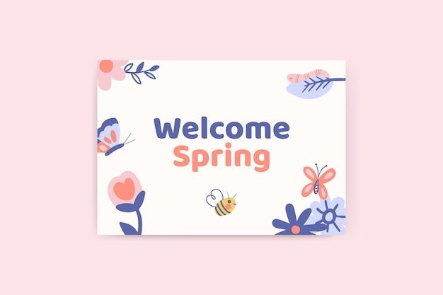 Carte Printanière Florale Enfantine Vecteur gratuit