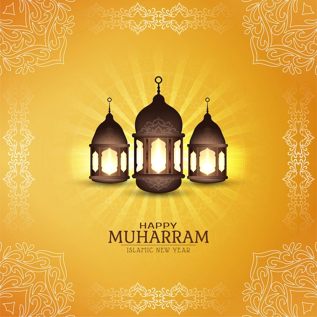 Carte religieuse abstraite happy muharram Vecteur gratuit