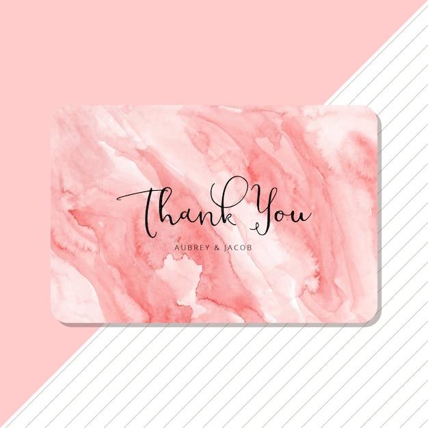 Carte de remerciement avec aquarelle abstraite rose Vecteur Premium