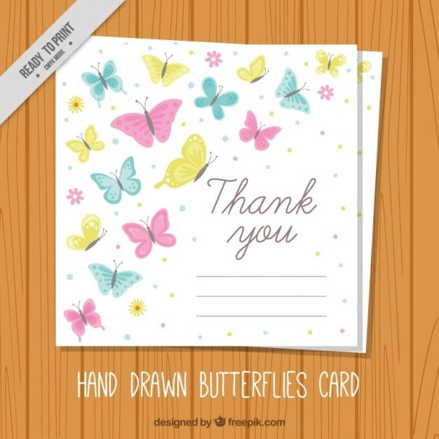 Carte De Remerciements Mignon Avec Des Papillons Vecteur gratuit