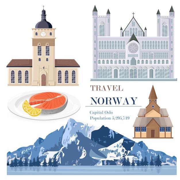 Carte De Repères De Voyage De La Norvège Vecteur Premium