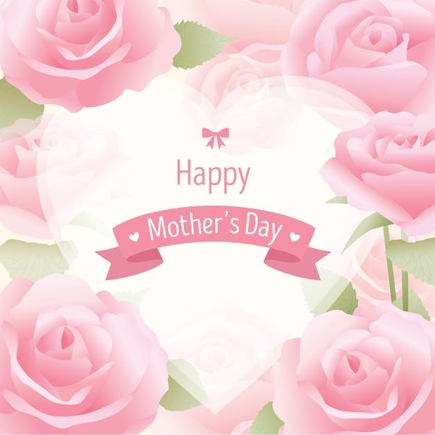 Carte de roses de fête des mères Vecteur Premium