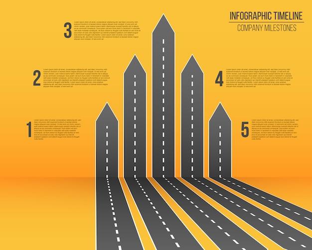 Carte des routes fléchées infographique Vecteur Premium