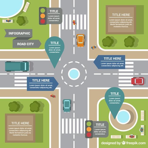 Carte routière infographie vue aérienne Vecteur gratuit