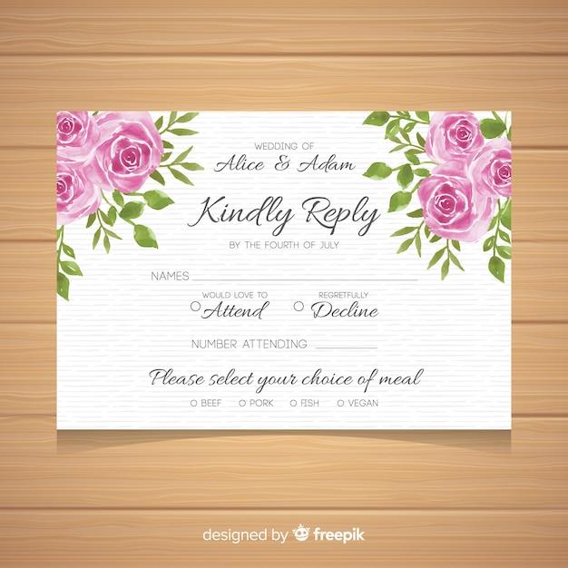 Carte de rsvp de mariage Vecteur gratuit