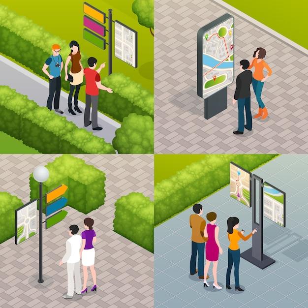Carte de rue de touristes 4 icônes Vecteur gratuit