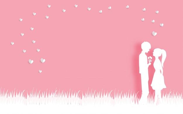 Carte de saint valentin avec amour couple en papier coupé illustration vectorielle de style. Vecteur Premium