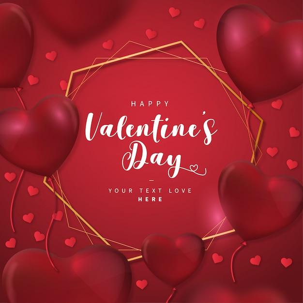 Carte De Saint Valentin Avec Cadre Doré Vecteur gratuit
