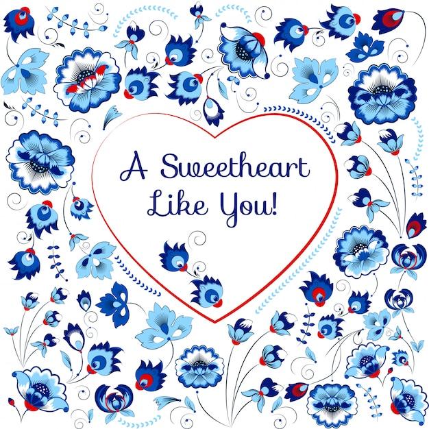 Carte de saint valentin avec coeur en style slave Vecteur Premium