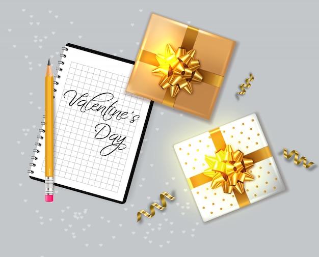 Carte de saint valentin avec des coffrets cadeaux Vecteur Premium