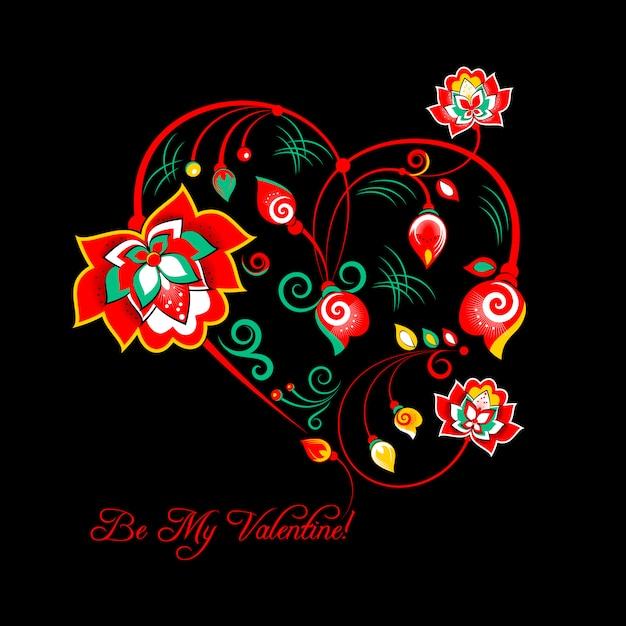 Carte de saint valentin avec des fleurs dans un style floral slave Vecteur Premium