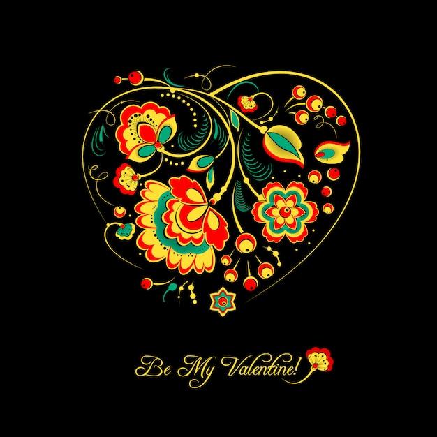 Carte de saint valentin avec des fleurs dans un style khokhloma Vecteur Premium
