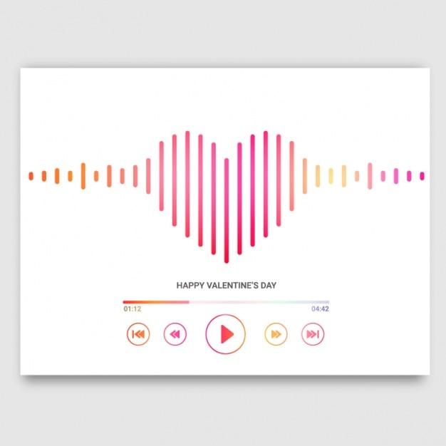 La carte de saint-valentin avec en forme de cœur lecteur de musique Vecteur Premium