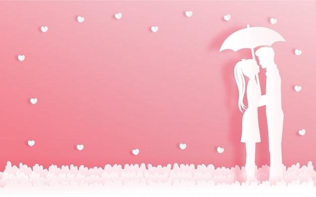 Carte de saint valentin avec homme et femme se tenant sous l'ombrelle Vecteur Premium