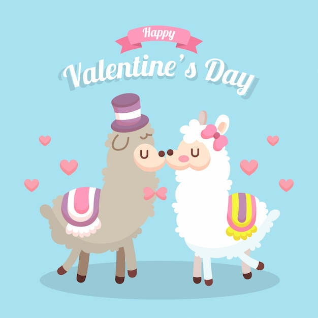 Carte de saint valentin avec illustration d'un couple d'animaux Vecteur Premium