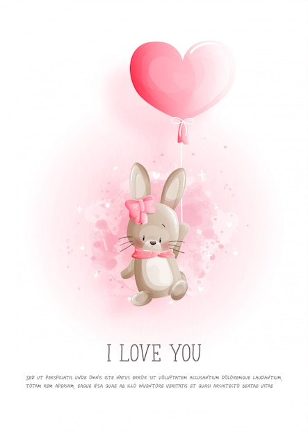 Carte De Saint Valentin Avec Mignon Lapin Et Ballon Coeur Vecteur Premium
