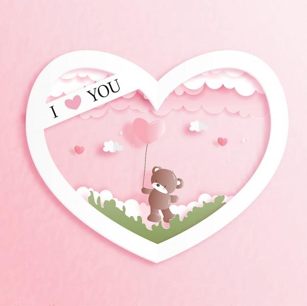 Carte De Saint Valentin Avec Mignon Ours En Peluche En Illustration De Style Papier Découpé. Vecteur Premium