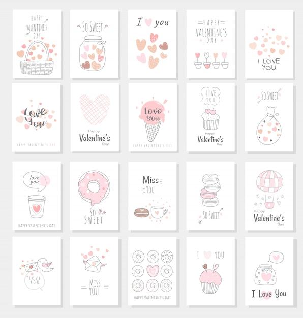 Carte de saint valentin sertie de style dessiné à la main Vecteur Premium