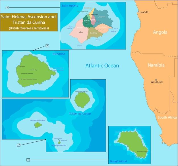 Carte De Sainte-hélène, Ascension Et Tristan Da Cunha Vecteur Premium