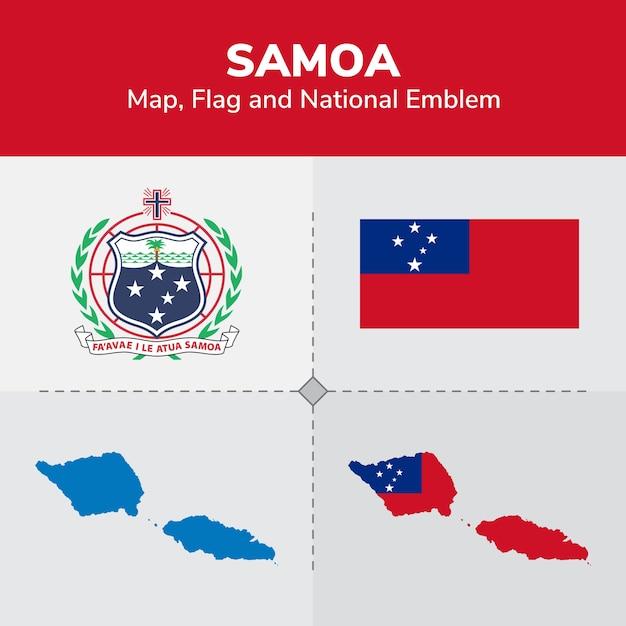 Carte de samoa, drapeau et emblème national Vecteur Premium