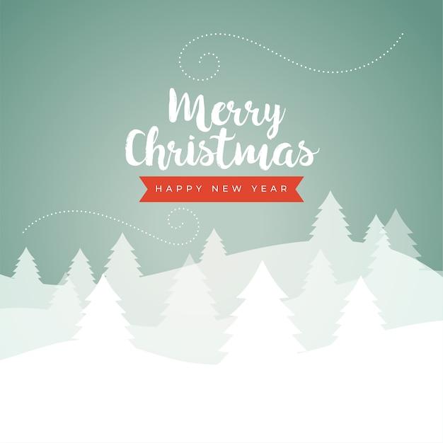 Carte De Scène D'hiver Classique Joyeux Noël Dans Des Couleurs Vintage Vecteur gratuit