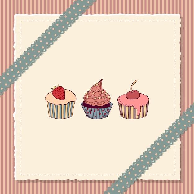 Carte De Scrapbooking Avec Cupcakes Vecteur Premium