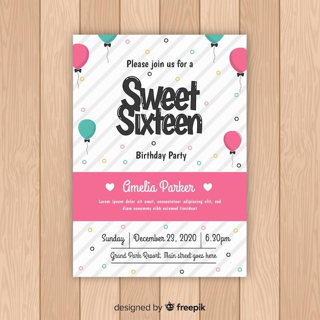 Carte de seize ballons d'anniversaire Vecteur gratuit