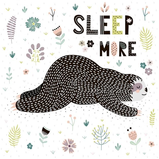 Carte sleep more avec une jolie paresse endormie Vecteur Premium