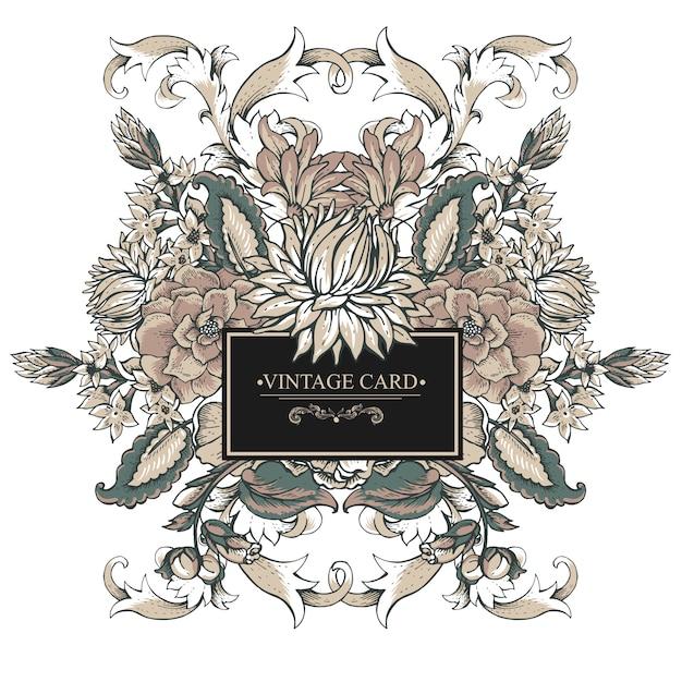 Carte De Souhaits Baroque Vintage Avec Des Remous, Des Fleurs Vecteur Premium