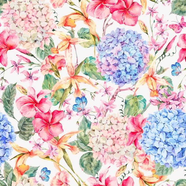 Carte de souhaits florale vintage de vecteur avec hortensias, orchidées Vecteur Premium
