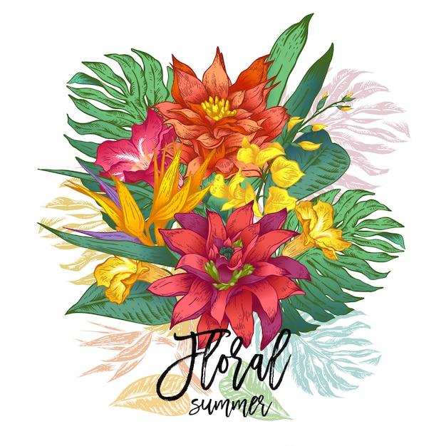 Carte de souhaits tropical floral vintage vector Vecteur Premium