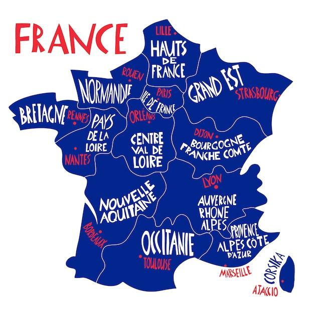 Carte Stylisee De La France Dessinee A La Main Illustration De Voyage Avec Les Noms Des