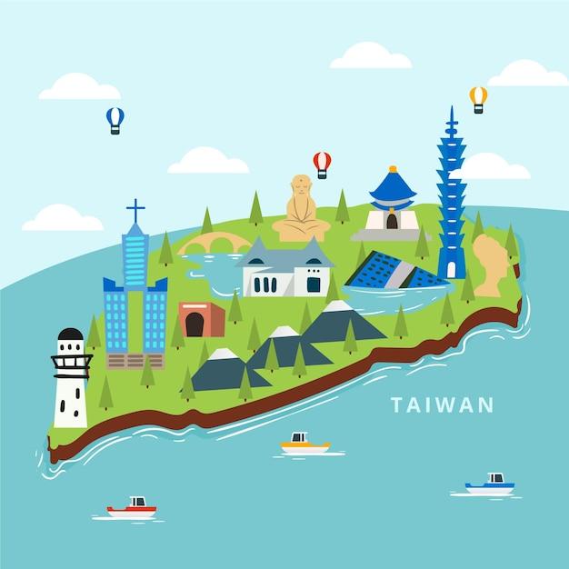 Carte De Taiwan Avec Concept De Points De Repère Vecteur gratuit