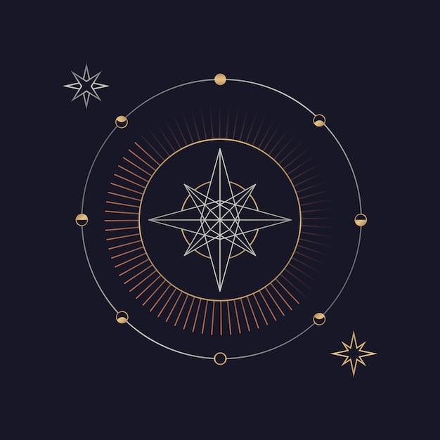 Carte de tarot astrologique étoile géométrique Vecteur gratuit