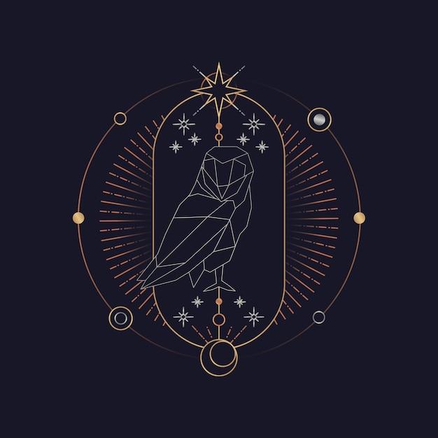 Carte de tarot astrologique hibou géométrique Vecteur gratuit