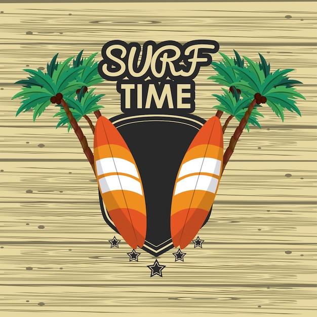 Carte de temps de surf Vecteur Premium