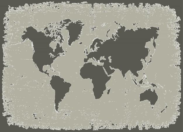 Carte de la terre grunge Vecteur Premium
