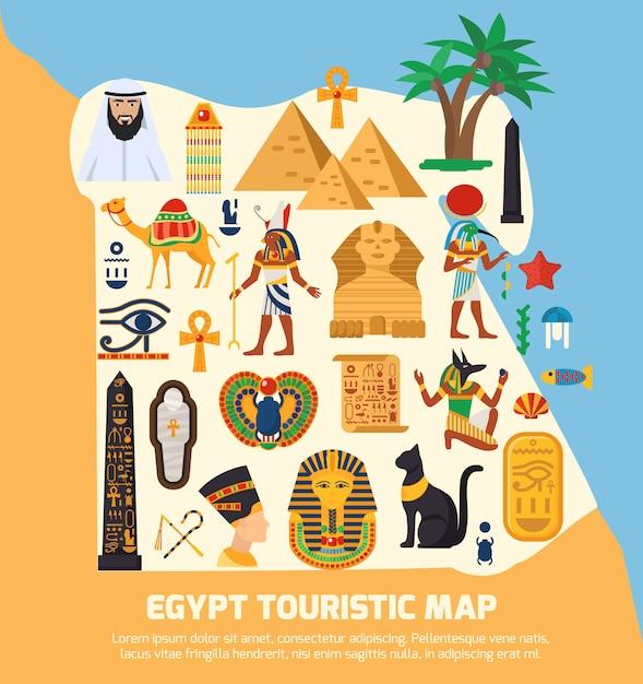 Carte touristique d'egypte Vecteur gratuit