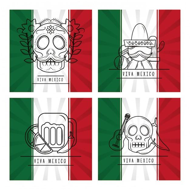 Carte Traditionnelle Viva Mexico Vecteur Premium