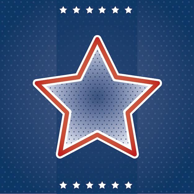Carte usa avec étoile Vecteur gratuit