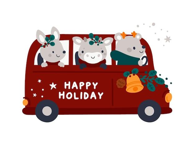 Carte De Vacances De Noël Avec Bus Rouge De Dessin Animé, Bébés Animaux Et Décor De Noël Vecteur Premium