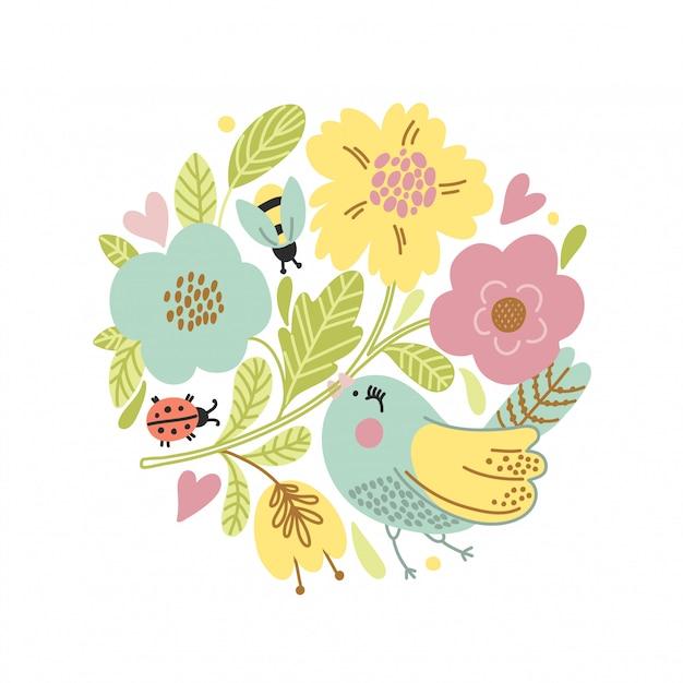 Carte de vecteur de dessin animé avec oiseau mignon Vecteur Premium