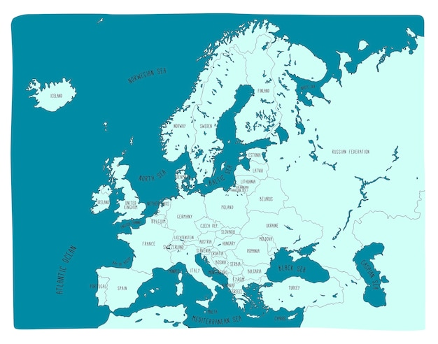 Carte de vecteur dessiné main coloré de l'europe Vecteur Premium