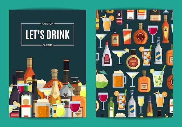 Carte de vecteur, modèle de flyer pour bar, pub ou magasin d'alcool avec des boissons alcoolisées dans des verres et des bouteilles. illustration de whisky et de boissons alcoolisées Vecteur Premium