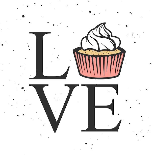 Carte de vecteur avec la typographie. amour avec petit gâteau Vecteur Premium